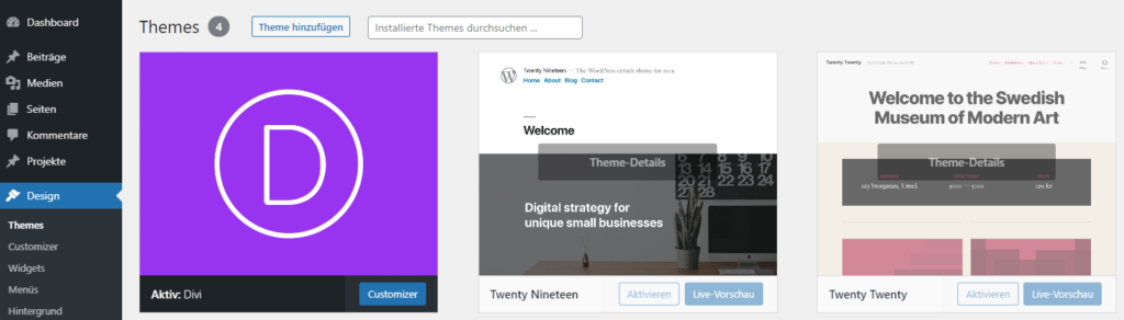 Divi Theme auf WordPress nutzen