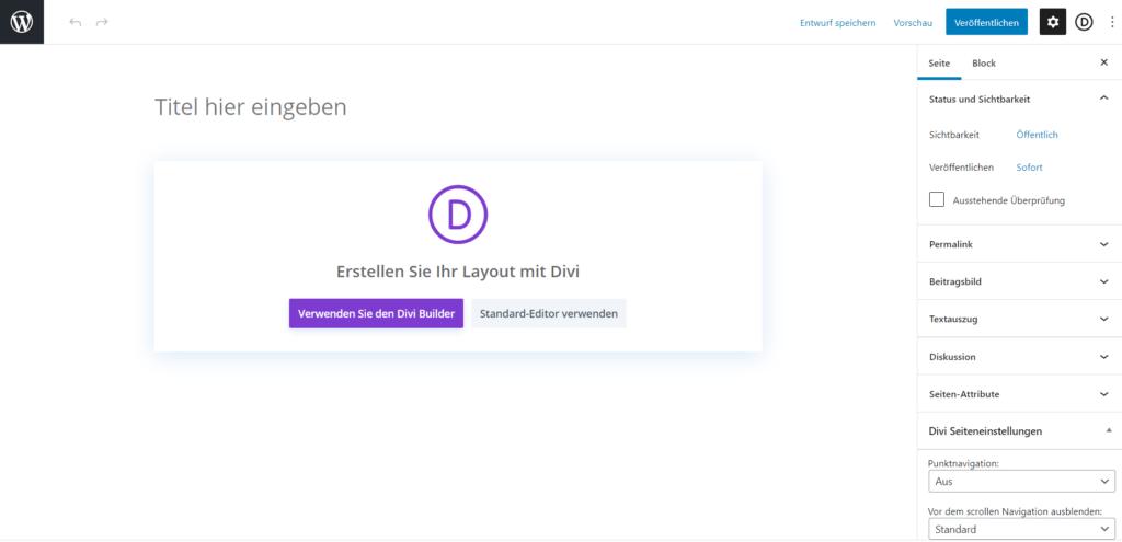 Seite auf WordPress mit Divi erstellen