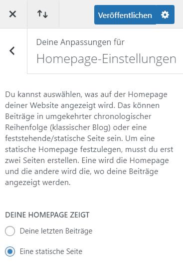 Statische Webseite in WordPress