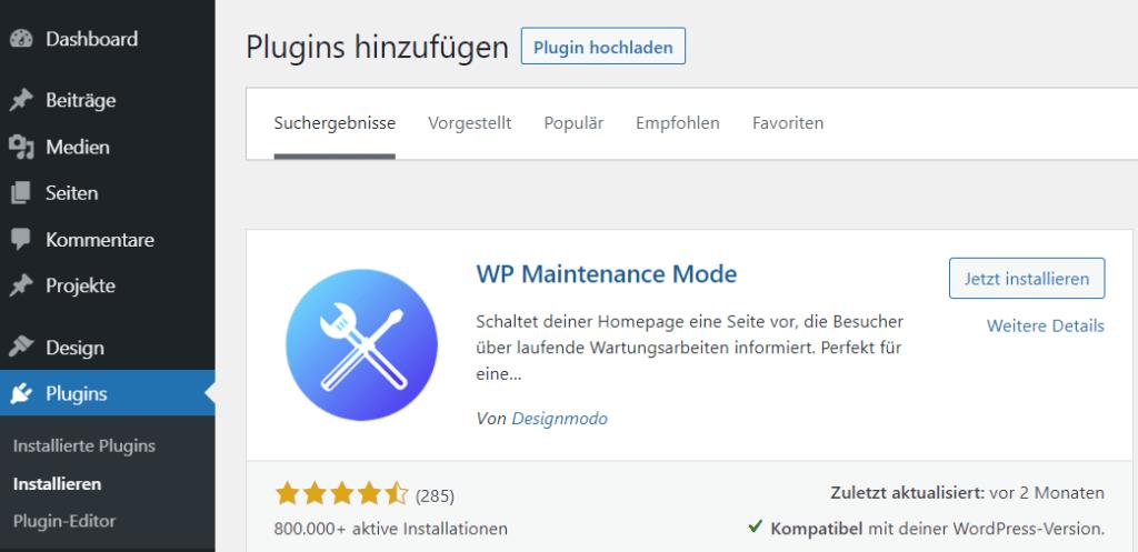WordPress Wartungsmodus über Plugin aktivieren